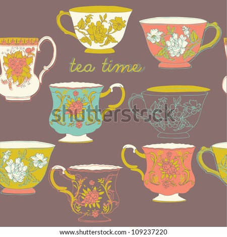retro porcelain cups - stock vector