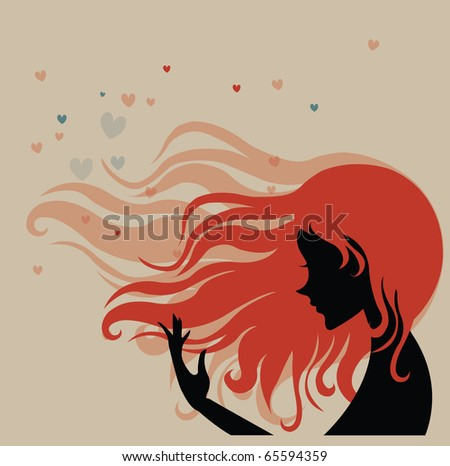 Retro portrait of woman with long hair - stock vector