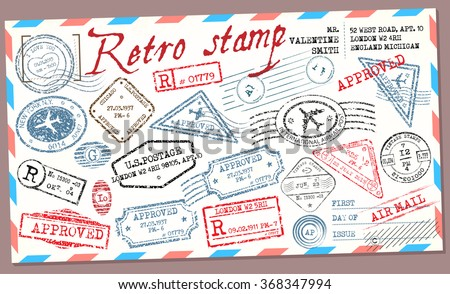 Retro post stamp. Passport Stamps - stock vector