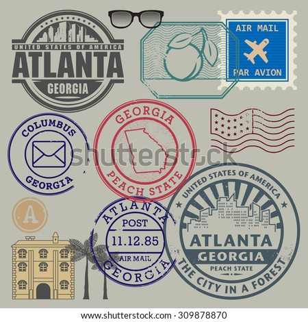 Retro postage stamps set, vector illustration - stock vector