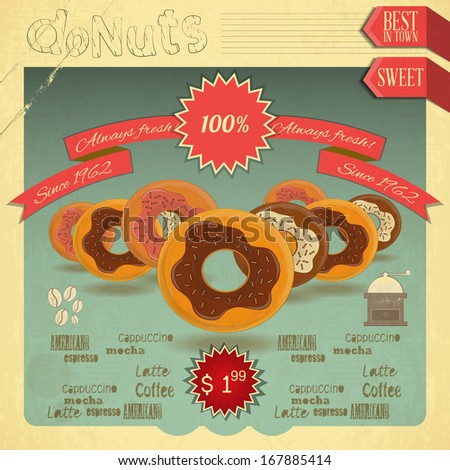 Retro postcard, Cover menu - Donuts Menu on Vintage background. Vector illustration - stock vector
