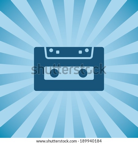 Retro poster audio cassette on background beams.  - stock vector