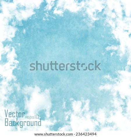 Retro Poster Design with clouds. Vector Illustration - stock vector