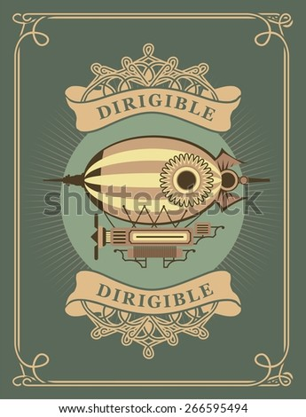 retro poster dirigible flying apparatus in a circle with patterns - stock vector