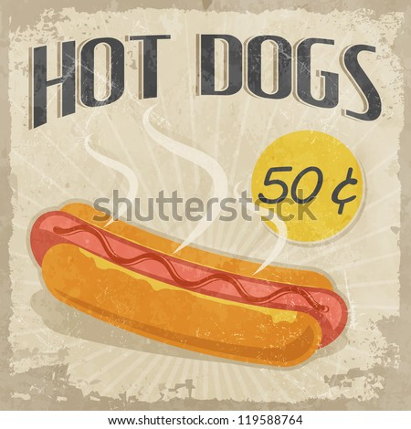 Retro poster Hot Dog with price - stock vector