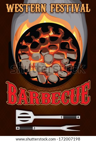 retro poster with hot coals for barbecue  - stock vector