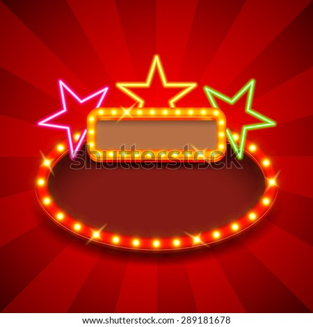 Retro poster with neon stars and lights vector background