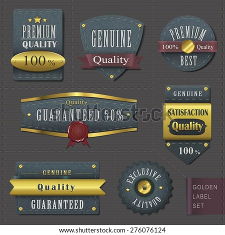 retro premium quality cloth labels with golden elements over dark
