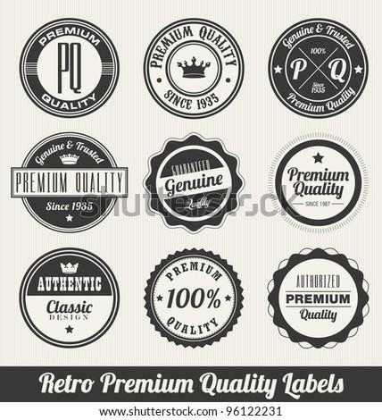 Retro Premium Quality Labels - Monochrome version - stock vector
