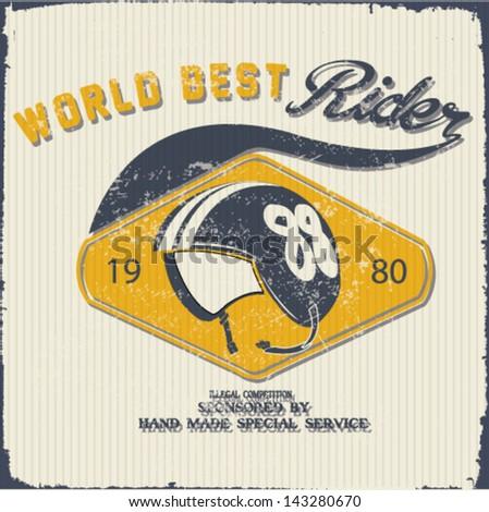 retro print design.hot rod vector print elements.Rider vector race element.world race  set - stock vector