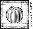 Retro pumpkin black and white. Vector - stock vector