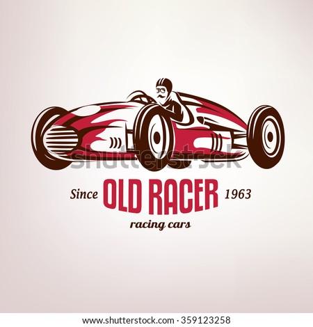 retro race car, vintage vector symbol, emblem, label template - stock vector