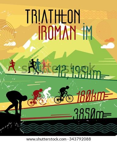 Retro race print. Retro triathlon poster. Poster sports competitions. Championship triathlon. Retro sports poster . - stock vector