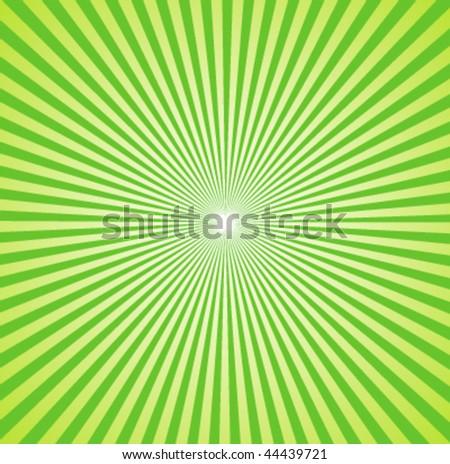 Retro Radial Green Sunbursts Vector - stock vector