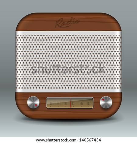 Retro radio app icon, vector illustration. - stock vector
