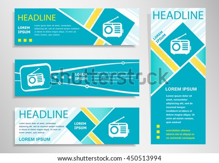 Retro radio icon on vertical and horizontal banner. Modern abstract flyer, banner design template. - stock vector