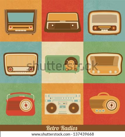 Retro Radio Icons - stock vector