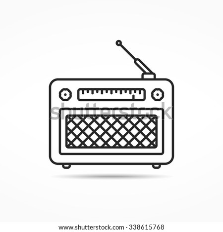 Retro radio line icon, vector eps10 illustration - stock vector