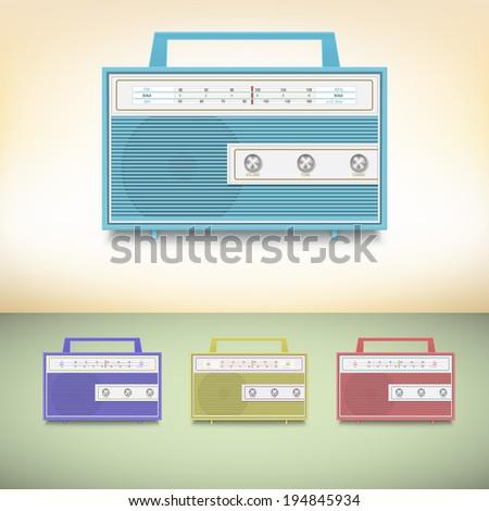 Retro radio. Set of multicolored transistor radios - stock vector
