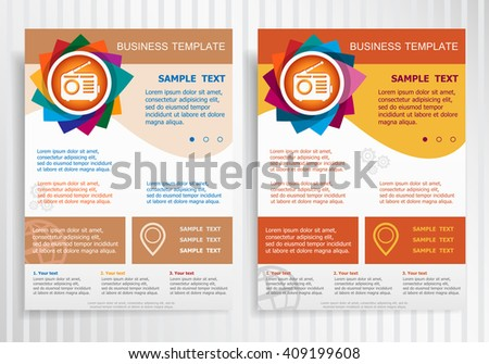 Retro radio symbol on abstract vector brochure template. Flyer layout. Flat style.  - stock vector