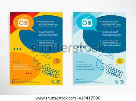 Retro radio symbol on chat speech bubbles. Modern flyer, brochure vector template - stock vector