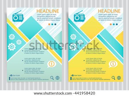 Retro radio symbol on vector brochure flyer design layout template. Business modern template - stock vector