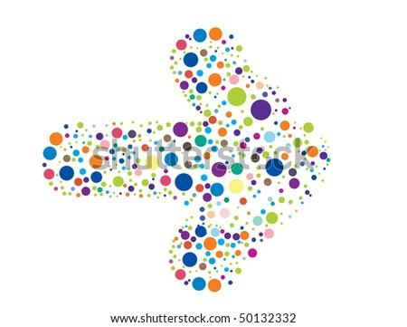 Retro rainbow color circle pattern arrow background, vector illustration - stock vector