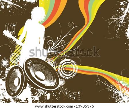 Retro Rainbow Speaker Band Vector Illustration - stock vector