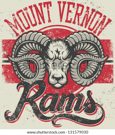 "Retro ""Rams"" athletic design complete with ram mascot head vector illustration, vintage athletic fonts and matching textures (all on separate layers, of course). - stock vector"
