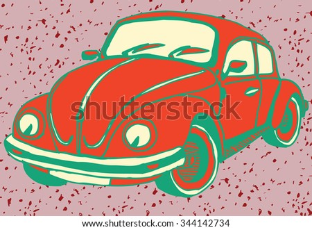 Retro red Car with Enjoy text - stock vector