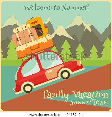 Retro Red Car with Luggage on Roof. Travel Car. Mountain Landscape. Vector Illustration. - stock vector