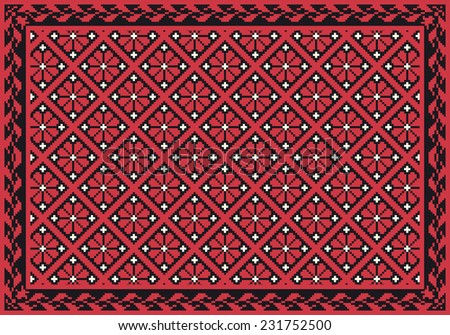 Retro red floral carpet - stock vector