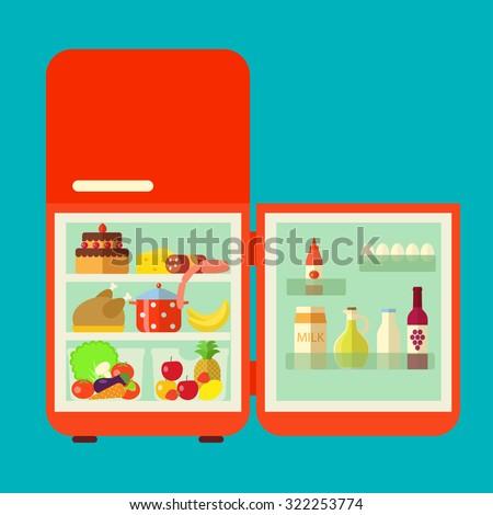 full refrigerator clipart. retro red opened refrigerator full of food vector flat illustration clipart t