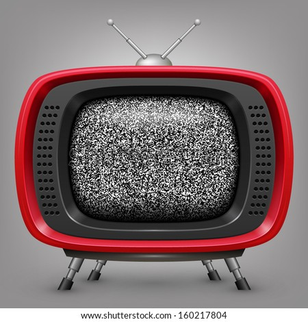 Retro red tv with noise - stock vector