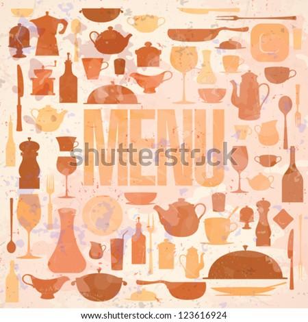 Retro restaurant menu card design template. Eps10. - stock vector