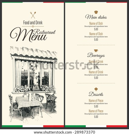 Retro restaurant menu design. With a sketch picture - stock vector