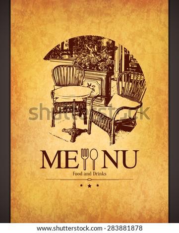 Retro restaurant menu design. With a sketch pictures - stock vector