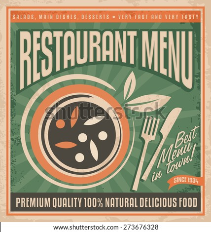 Retro restaurant menu poster design. Vegan food promotional menu template. Plate full of delicious food with knife and fork.Vintage background concept with classic design elements.  - stock vector