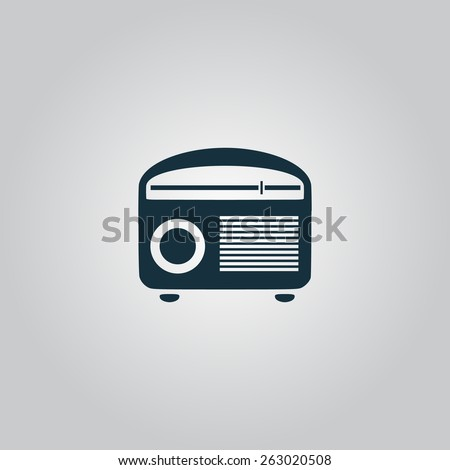 Retro revival radios tuner. Flat web icon, sign or button isolated on grey background. Collection modern trend concept design style vector illustration symbol - stock vector