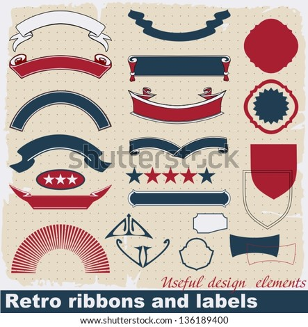 Retro ribbons and labels. Vector set.