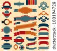 Retro ribbons banners and labels set. Vintage collection. - stock vector