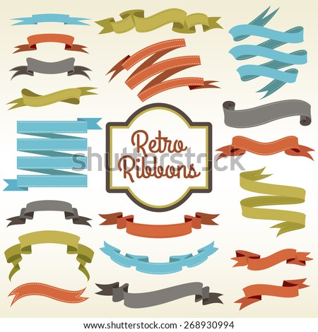 Retro ribbons trims cuttings curled pieces arrangement composition notions store nostalgic advertisement poster print abstract vector illustration - stock vector