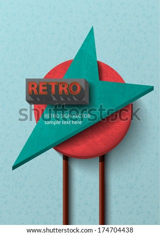 retro roadside motel sign - stock vector