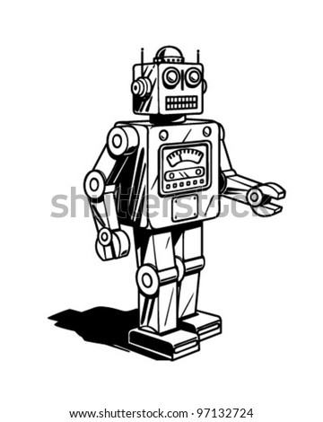 Retro Robot - Clipart Illustration - stock vector