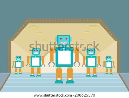 Retro Robot Invasion vector - stock vector