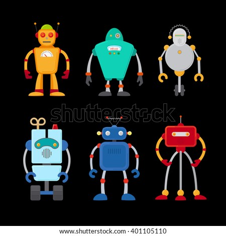 Retro robot set in flat style, vintage cute robots. Toy robots vector - stock vector