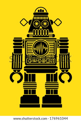 Retro Robot Silhouette  - stock vector
