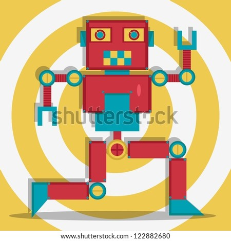 Retro Robot 1 The Dacer - stock vector