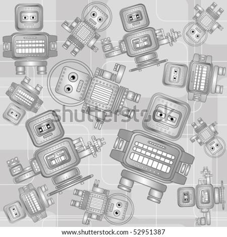 Retro robots seamless pattern - stock vector