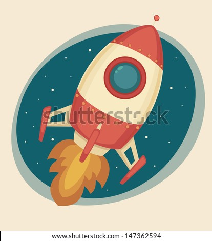Retro Rocket - stock vector